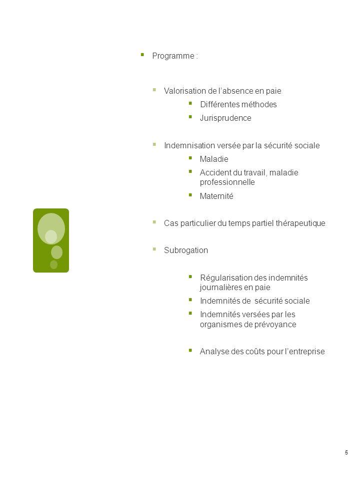 Programme : Valorisation de labsence en paie Différentes méthodes Jurisprudence Indemnisation versée par la sécurité sociale Maladie Accident du travail, maladie professionnelle Maternité Cas particulier du temps partiel thérapeutique Subrogation Régularisation des indemnités journalières en paie Indemnités de sécurité sociale Indemnités versées par les organismes de prévoyance Analyse des coûts pour lentreprise 5