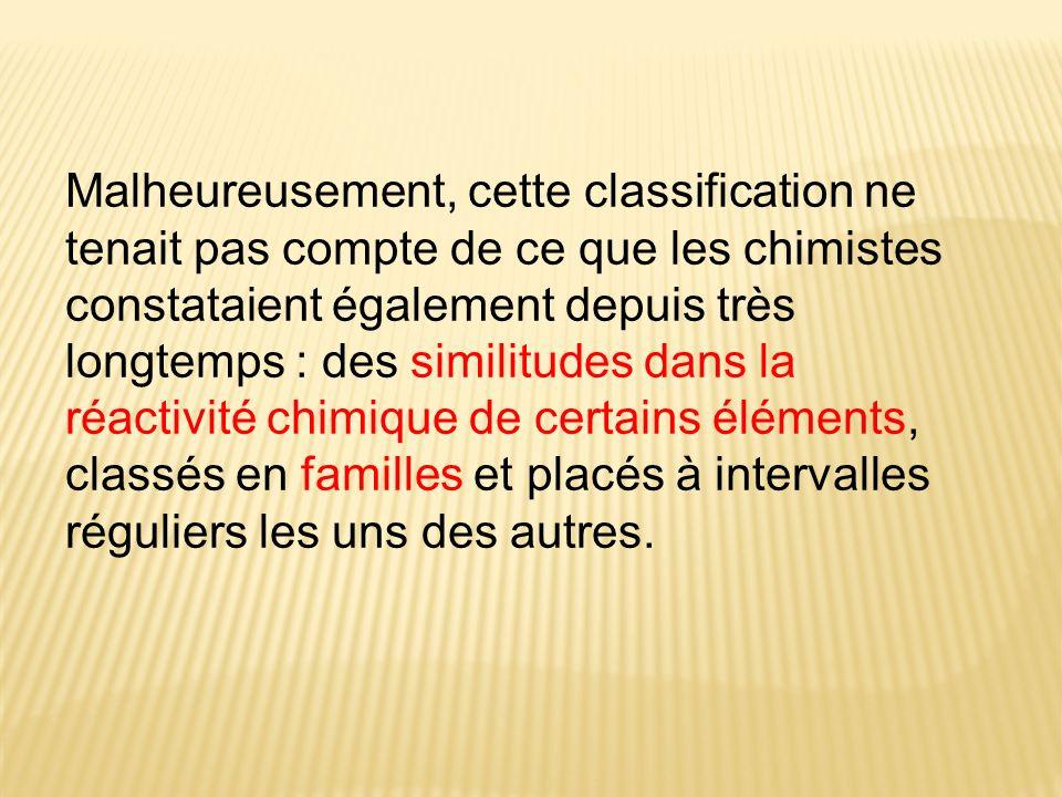 Malheureusement, cette classification ne tenait pas compte de ce que les chimistes constataient également depuis très longtemps : des similitudes dans la réactivité chimique de certains éléments, classés en familles et placés à intervalles réguliers les uns des autres.