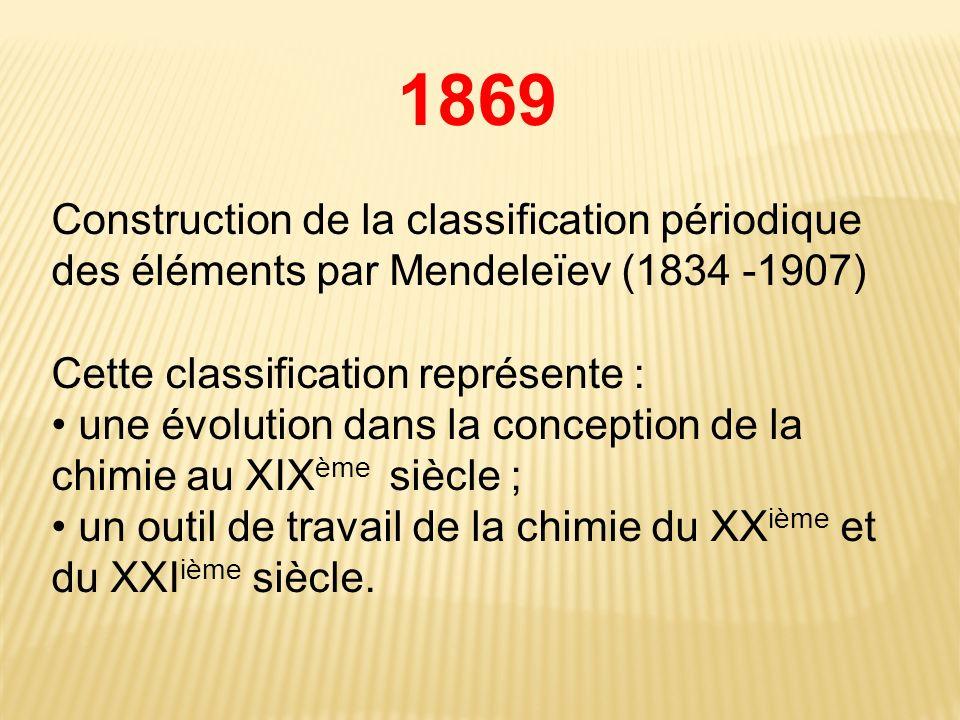 1869 Construction de la classification périodique des éléments par Mendeleïev (1834 -1907) Cette classification représente : une évolution dans la conception de la chimie au XIX ème siècle ; un outil de travail de la chimie du XX ième et du XXI ième siècle.