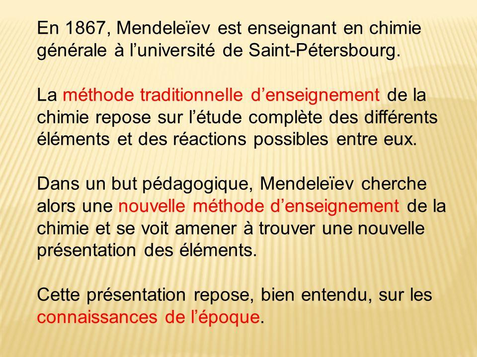 En 1867, Mendeleïev est enseignant en chimie générale à luniversité de Saint-Pétersbourg.