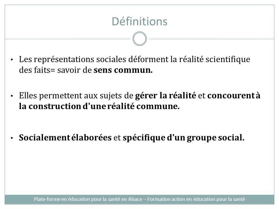Définitions Les représentations sociales déforment la réalité scientifique des faits= savoir de sens commun.