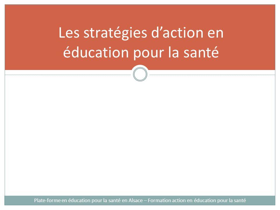Les stratégies daction en éducation pour la santé Plate-forme en éducation pour la santé en Alsace – Formation action en éducation pour la santé