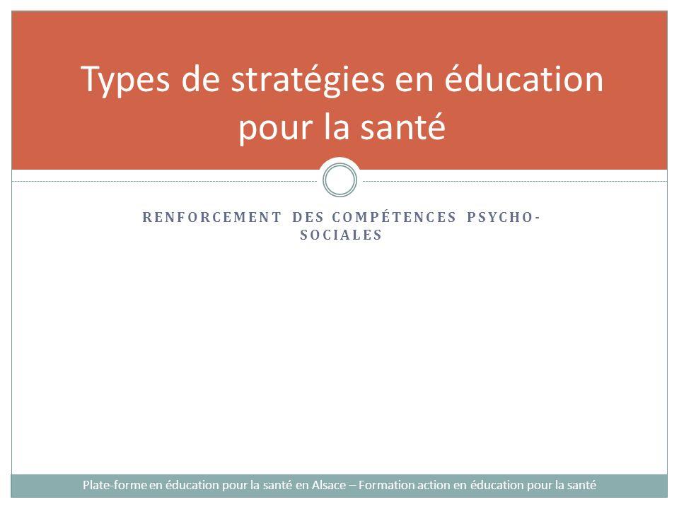 RENFORCEMENT DES COMPÉTENCES PSYCHO- SOCIALES Types de stratégies en éducation pour la santé Plate-forme en éducation pour la santé en Alsace – Formation action en éducation pour la santé
