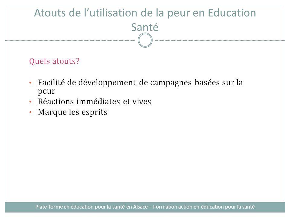 Atouts de lutilisation de la peur en Education Santé Quels atouts.
