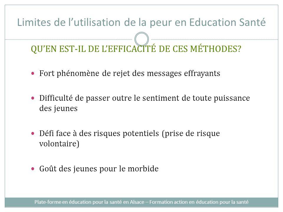 Limites de lutilisation de la peur en Education Santé QUEN EST-IL DE LEFFICACITÉ DE CES MÉTHODES.