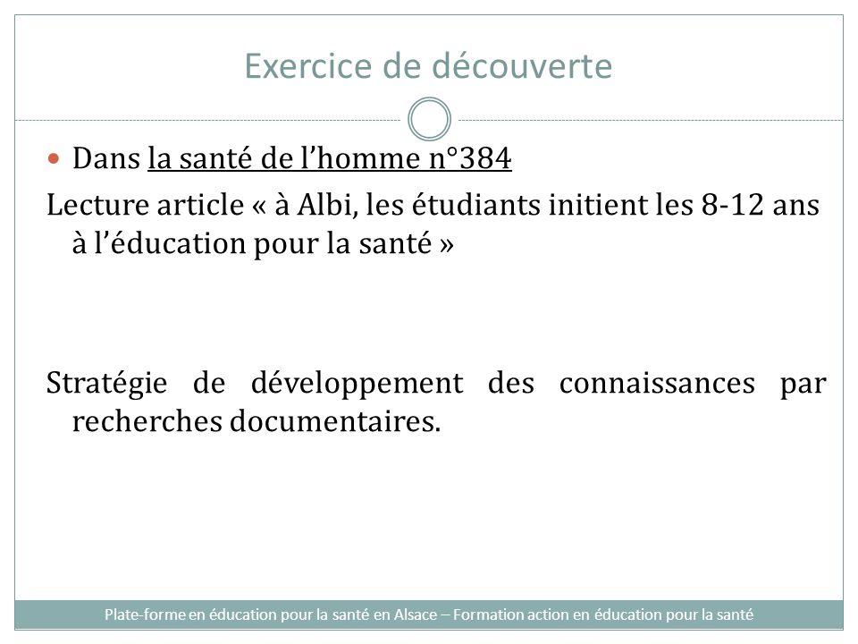 Exercice de découverte Dans la santé de lhomme n°384 Lecture article « à Albi, les étudiants initient les 8-12 ans à léducation pour la santé » Stratégie de développement des connaissances par recherches documentaires.
