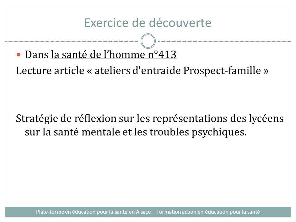Exercice de découverte Dans la santé de lhomme n°413 Lecture article « ateliers dentraide Prospect-famille » Stratégie de réflexion sur les représentations des lycéens sur la santé mentale et les troubles psychiques.