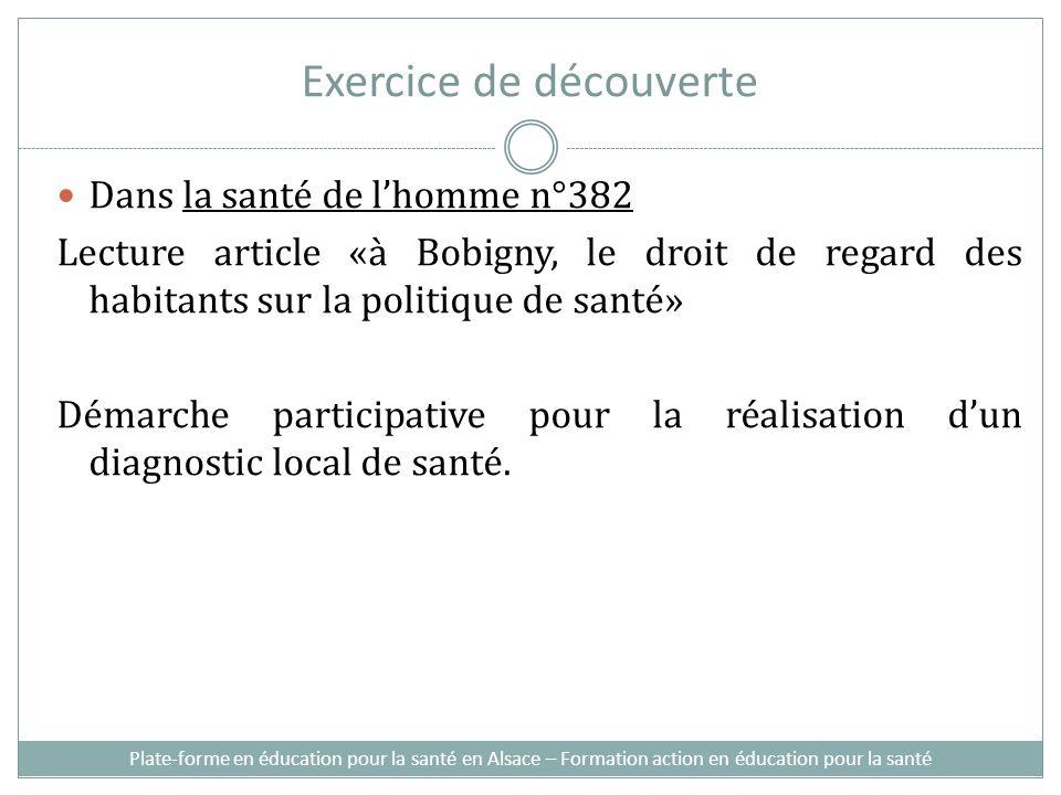 Exercice de découverte Dans la santé de lhomme n°382 Lecture article «à Bobigny, le droit de regard des habitants sur la politique de santé» Démarche participative pour la réalisation dun diagnostic local de santé.