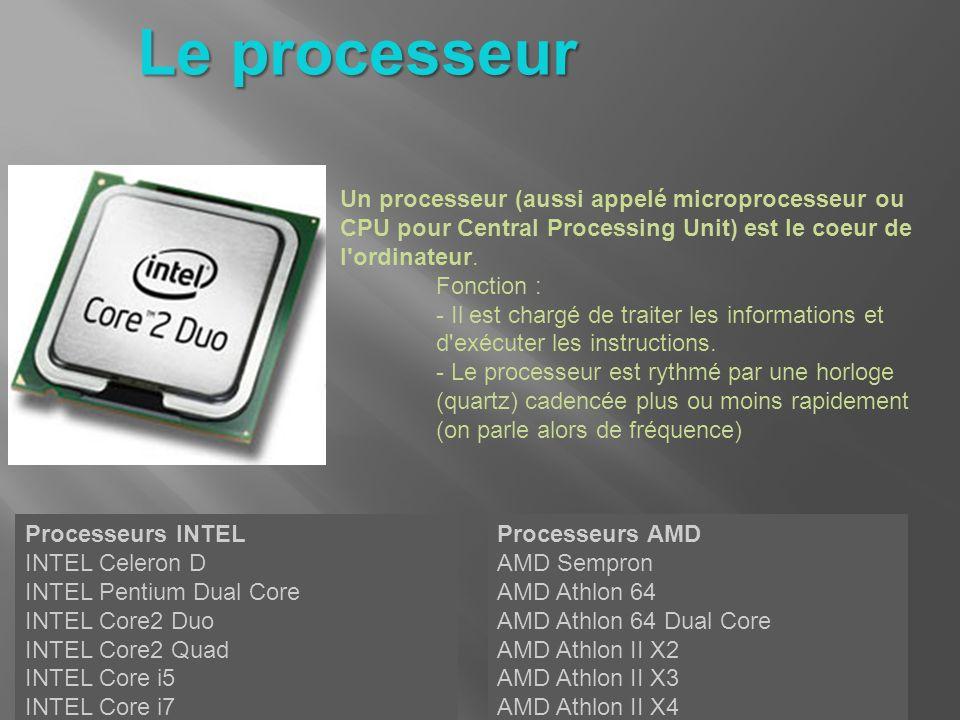 Un processeur (aussi appelé microprocesseur ou CPU pour Central Processing Unit) est le coeur de l'ordinateur. Fonction : - Il est chargé de traiter l