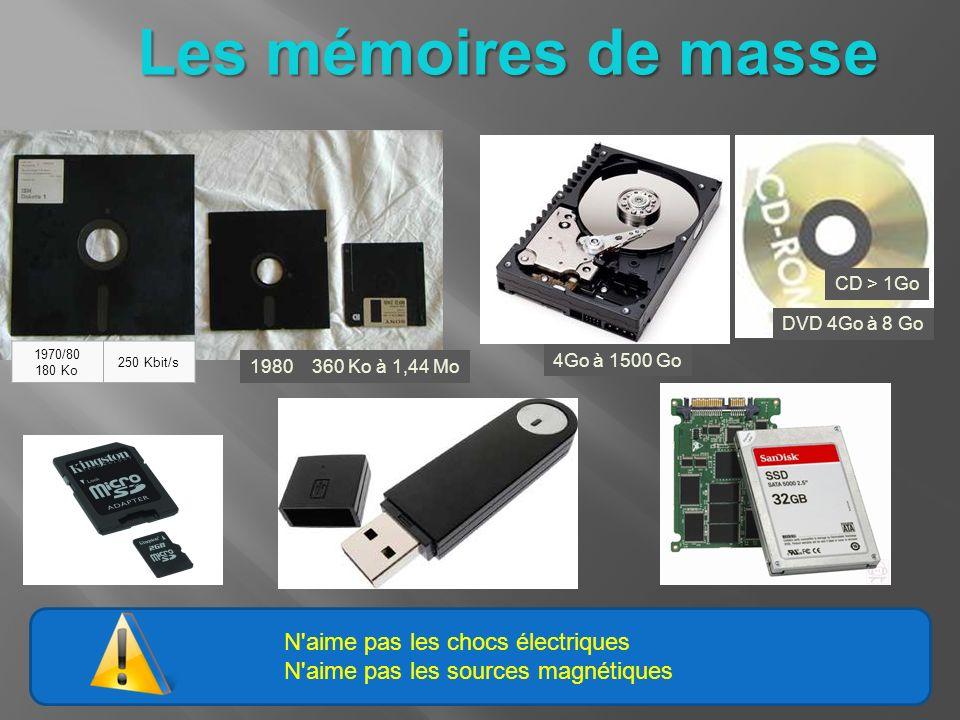 N'aime pas les chocs électriques N'aime pas les sources magnétiques Les mémoires de masse 1970/80 180 Ko 250 Kbit/s 1980 360 Ko à 1,44 Mo 4Go à 1500 G