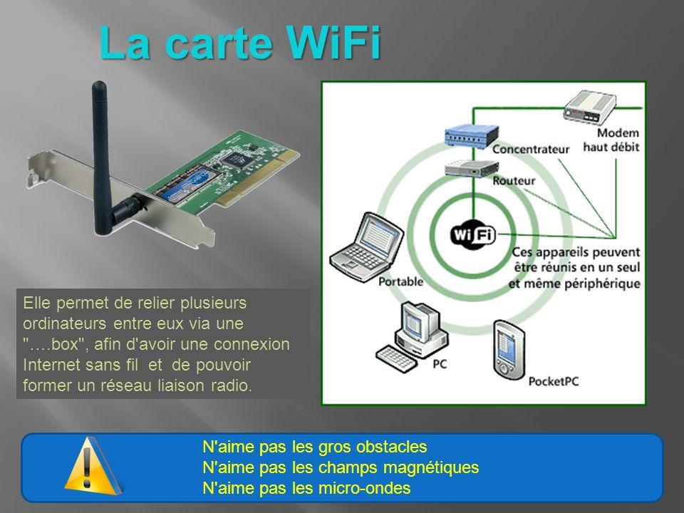 N aime pas les gros obstacles N aime pas les champs magnétiques N aime pas les micro-ondes La carte WiFi Elle permet de relier plusieurs ordinateurs entre eux via une ….box , afin d avoir une connexion Internet sans fil et de pouvoir former un réseau liaison radio.