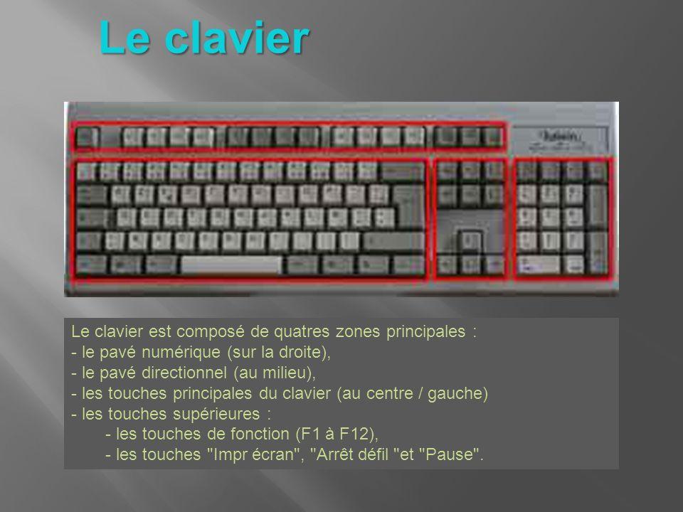 Le clavier Le clavier est composé de quatres zones principales : - le pavé numérique (sur la droite), - le pavé directionnel (au milieu), - les touche