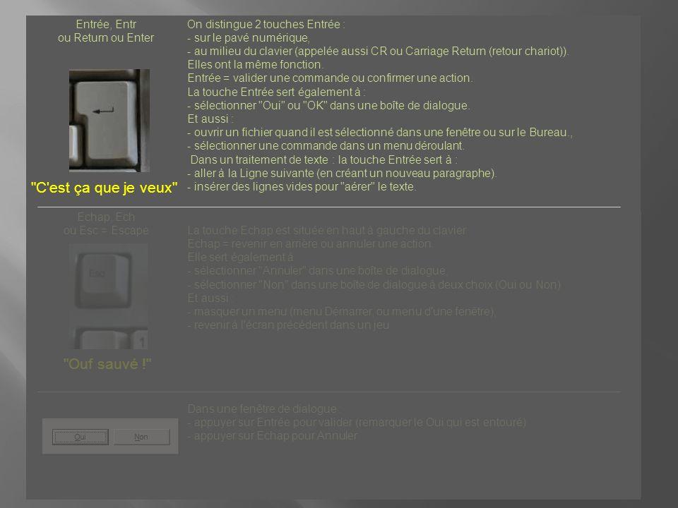 Entrée, Entr ou Return ou Enter On distingue 2 touches Entrée : - sur le pavé numérique, - au milieu du clavier (appelée aussi CR ou Carriage Return (