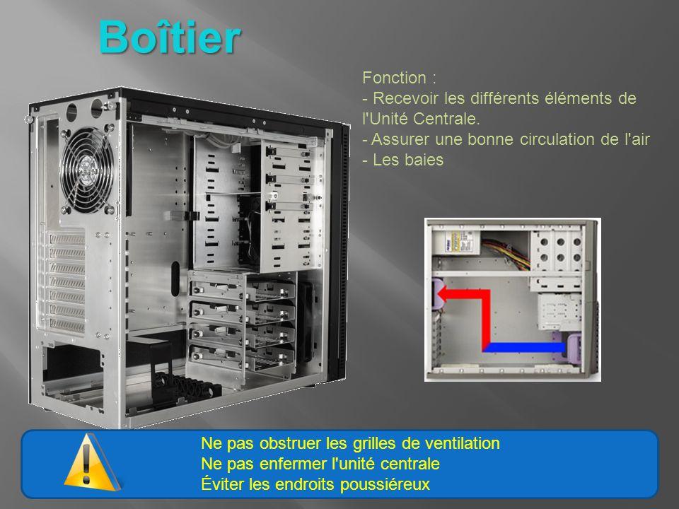 Boîtier Fonction : - Recevoir les différents éléments de l'Unité Centrale. - Assurer une bonne circulation de l'air - Les baies Ne pas obstruer les gr