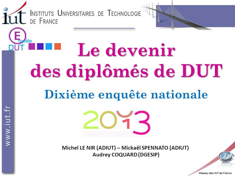 Réseau des IUT de France Le devenir des diplômés de DUT Dixième enquête nationale Michel LE NIR (ADIUT) – Mickaël SPENNATO (ADIUT) Audrey COQUARD (DGESIP)