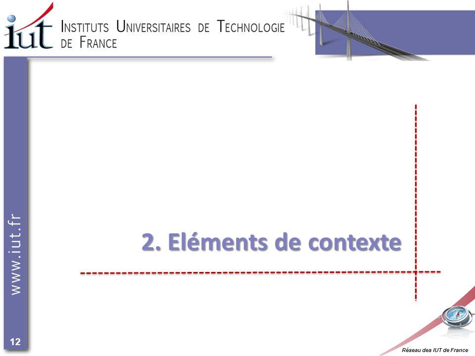 Réseau des IUT de France 12 2. Eléments de contexte