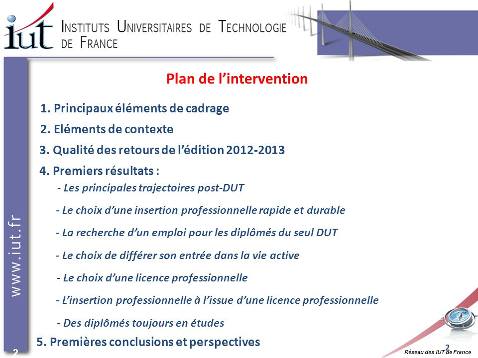 Réseau des IUT de France 2 2 1.Principaux éléments de cadrage 3.