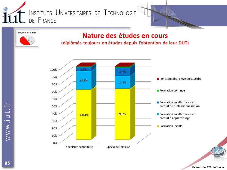 Réseau des IUT de France 95 Nature des études en cours (diplômés toujours en études depuis lobtention de leur DUT)