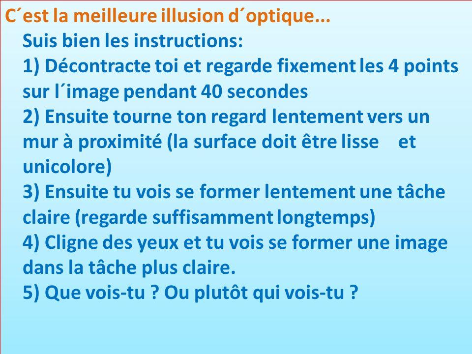 C´est la meilleure illusion d´optique... Suis bien les instructions: 1) Décontracte toi et regarde fixement les 4 points sur l´image pendant 40 second