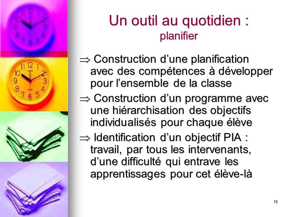 18 Un outil au quotidien : planifier Construction dune planification avec des compétences à développer pour lensemble de la classe Construction dune p