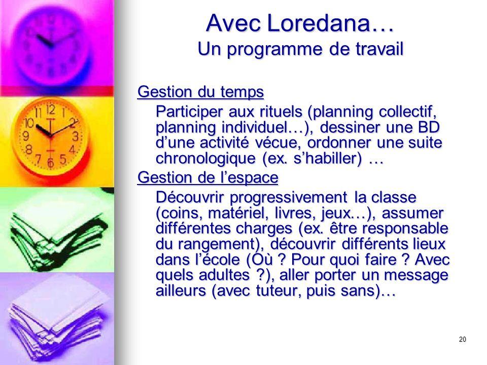 20 Avec Loredana… Un programme de travail Gestion du temps Participer aux rituels (planning collectif, planning individuel…), dessiner une BD dune act