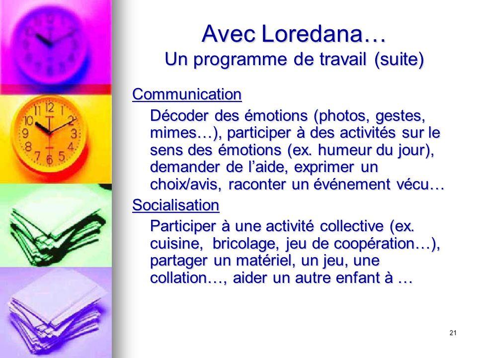 21 Avec Loredana… Un programme de travail (suite) Communication Décoder des émotions (photos, gestes, mimes…), participer à des activités sur le sens des émotions (ex.