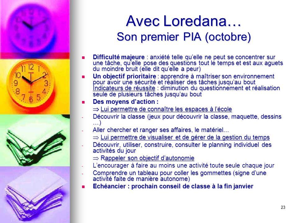 23 Avec Loredana… Son premier PIA (octobre) Difficulté majeure : anxiété telle quelle ne peut se concentrer sur une tâche, quelle pose des questions t