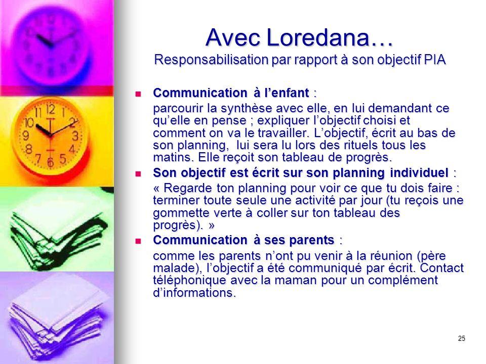 25 Avec Loredana… Responsabilisation par rapport à son objectif PIA Communication à lenfant : Communication à lenfant : parcourir la synthèse avec ell