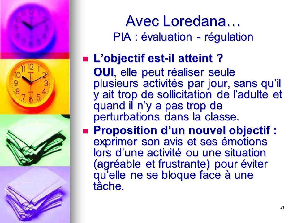 31 Avec Loredana… PIA : évaluation - régulation Lobjectif est-il atteint ? Lobjectif est-il atteint ? OUI, elle peut réaliser seule plusieurs activité