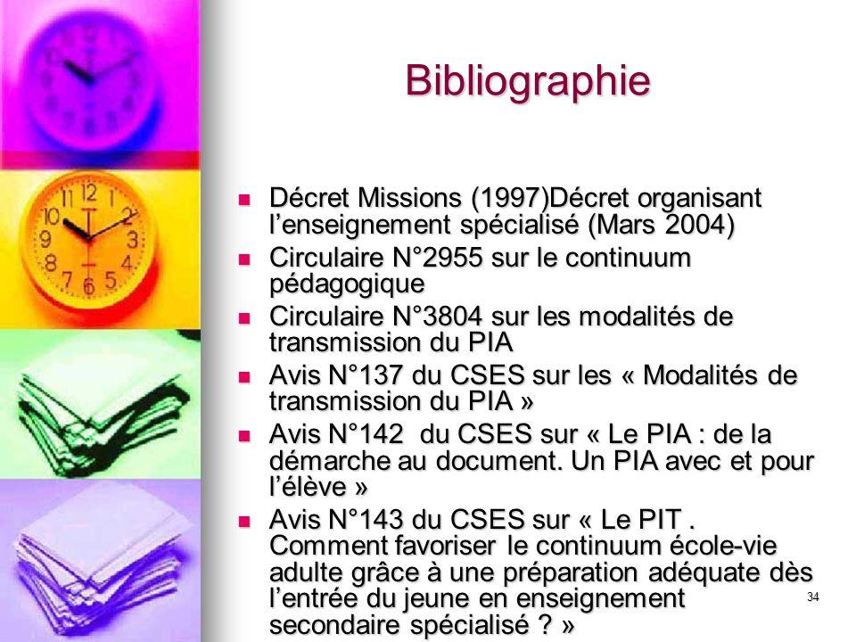34 Bibliographie Décret Missions (1997)Décret organisant lenseignement spécialisé (Mars 2004) Décret Missions (1997)Décret organisant lenseignement sp