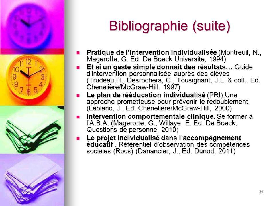 36 Bibliographie (suite) Pratique de lintervention individualisée (Montreuil, N., Magerotte, G. Ed. De Boeck Université, 1994) Pratique de linterventi