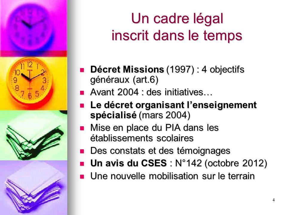 4 Un cadre légal inscrit dans le temps Décret Missions (1997) : 4 objectifs généraux (art.6) Décret Missions (1997) : 4 objectifs généraux (art.6) Ava