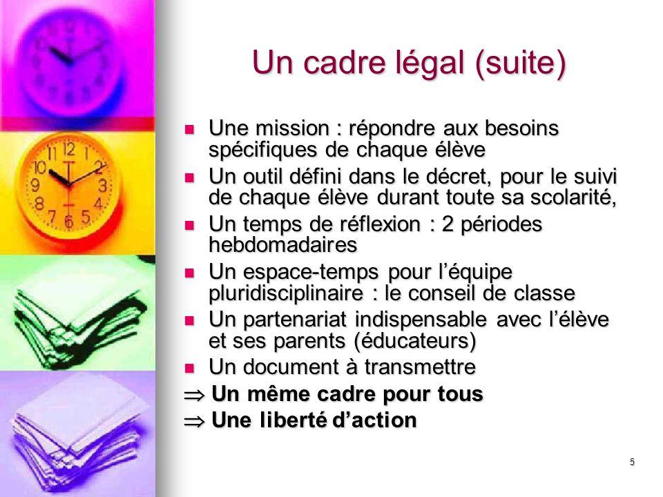 5 Un cadre légal (suite) Une mission : répondre aux besoins spécifiques de chaque élève Une mission : répondre aux besoins spécifiques de chaque élève
