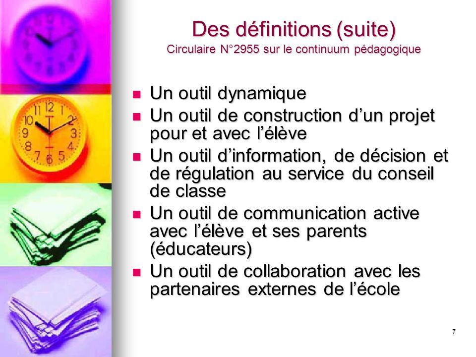 7 Des définitions (suite) Circulaire N°2955 sur le continuum pédagogique Un outil dynamique Un outil dynamique Un outil de construction dun projet pou