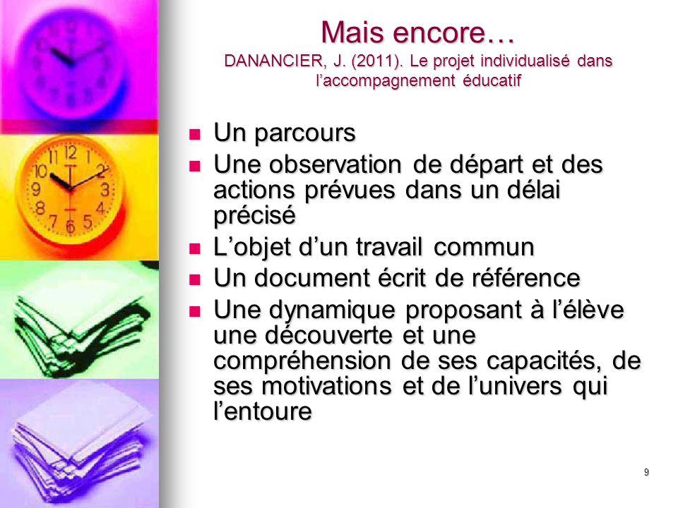 9 Mais encore… DANANCIER, J. (2011). Le projet individualisé dans laccompagnement éducatif Un parcours Un parcours Une observation de départ et des ac
