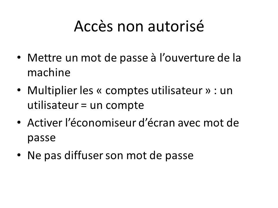 Accès non autorisé Mettre un mot de passe à louverture de la machine Multiplier les « comptes utilisateur » : un utilisateur = un compte Activer lécon