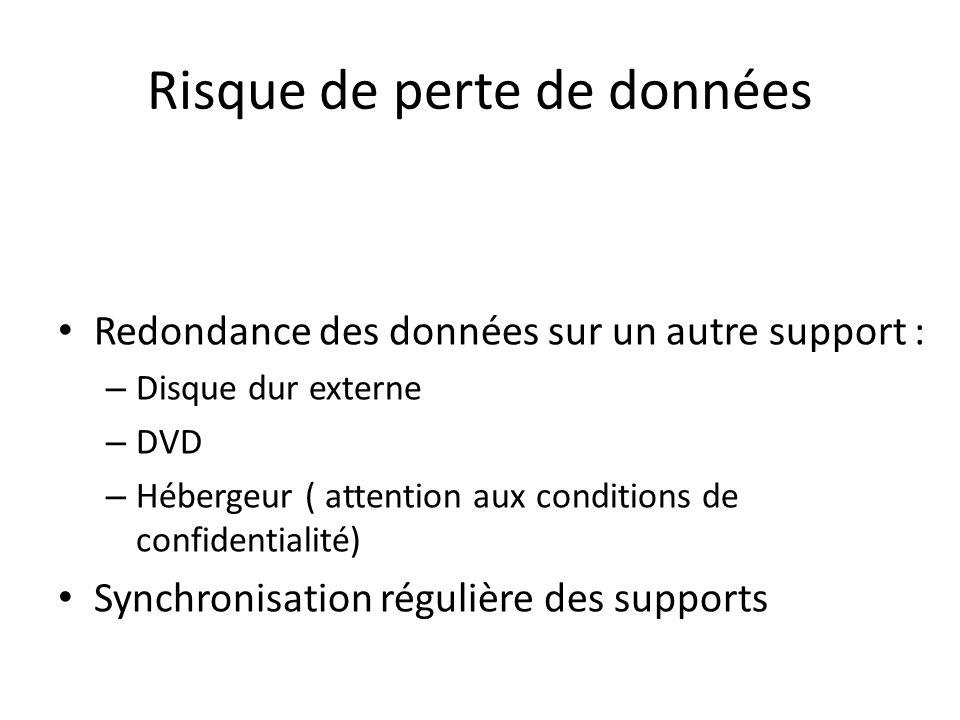 Risque de perte de données Redondance des données sur un autre support : – Disque dur externe – DVD – Hébergeur ( attention aux conditions de confiden