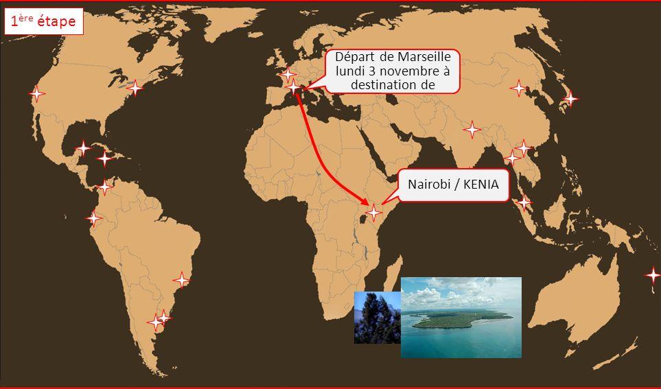 Départ de Marseille lundi 3 novembre à destination de Nairobi / KENIA 1 ère étape