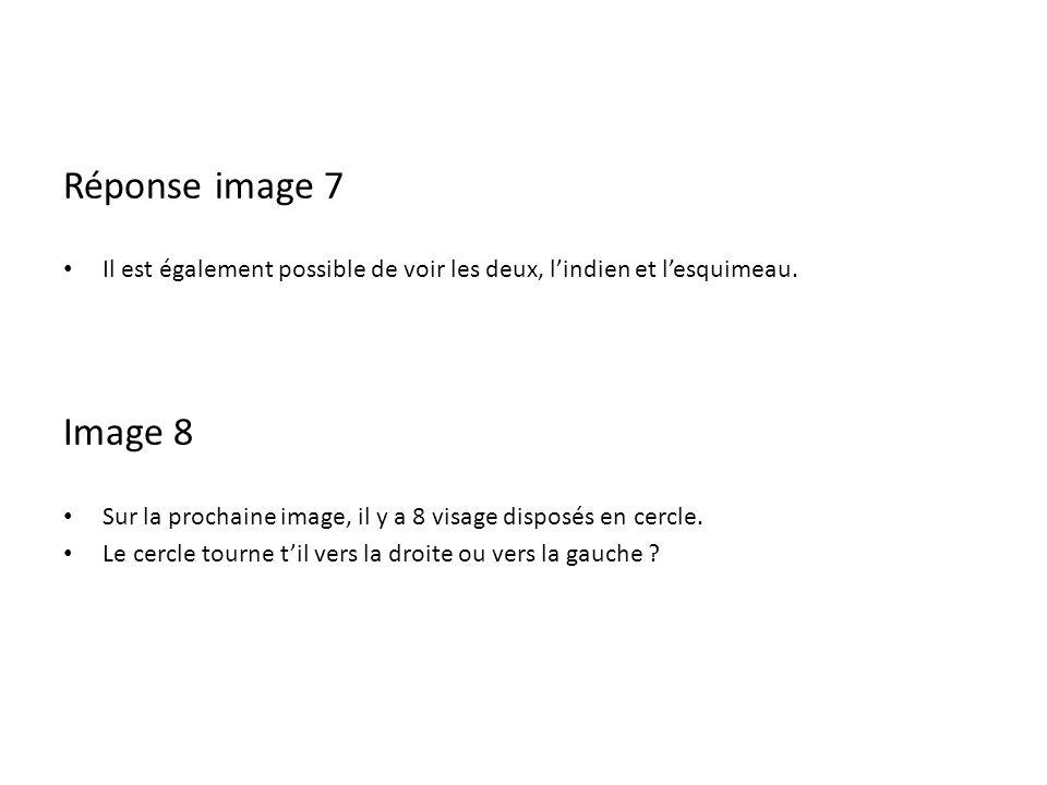 Réponse image 7 Il est également possible de voir les deux, lindien et lesquimeau. Image 8 Sur la prochaine image, il y a 8 visage disposés en cercle.
