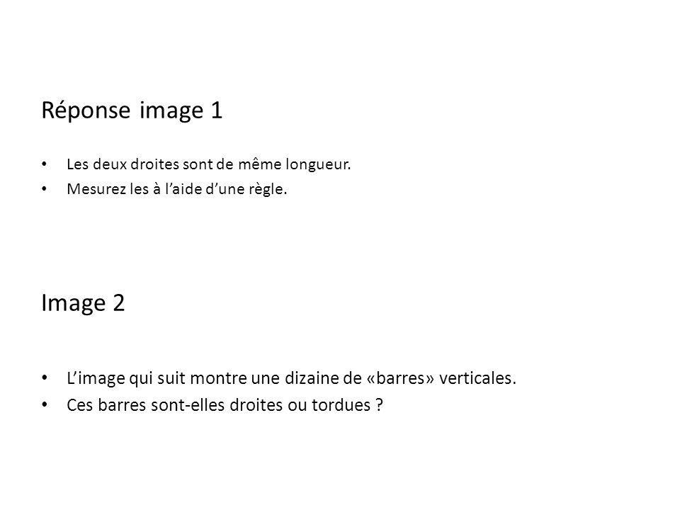 Réponse image 1 Les deux droites sont de même longueur. Mesurez les à laide dune règle. Image 2 Limage qui suit montre une dizaine de «barres» vertica