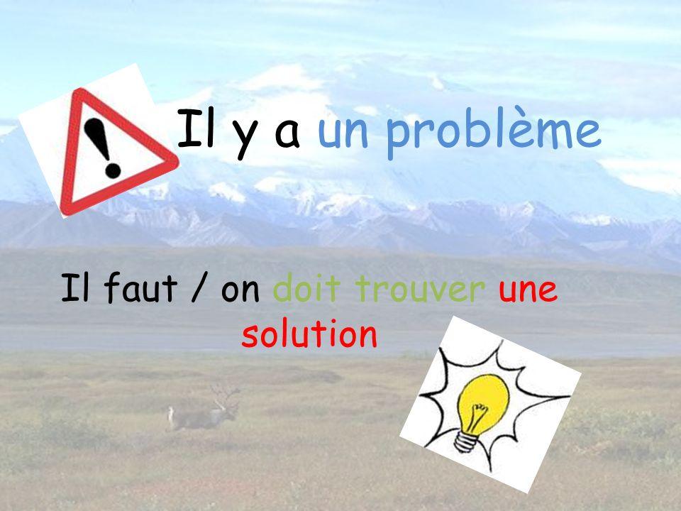 Il y a un problème Il faut / on doit trouver une solution