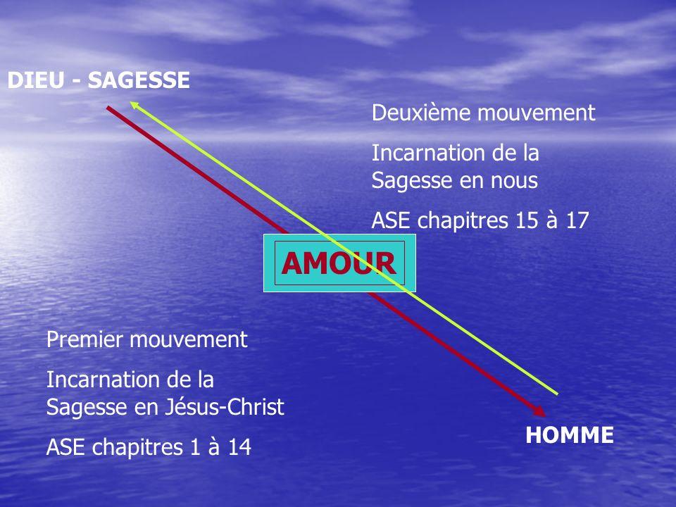 DIEU - SAGESSE AMOUR HOMME Premier mouvement Incarnation de la Sagesse en Jésus-Christ ASE chapitres 1 à 14 Deuxième mouvement Incarnation de la Sagesse en nous ASE chapitres 15 à 17