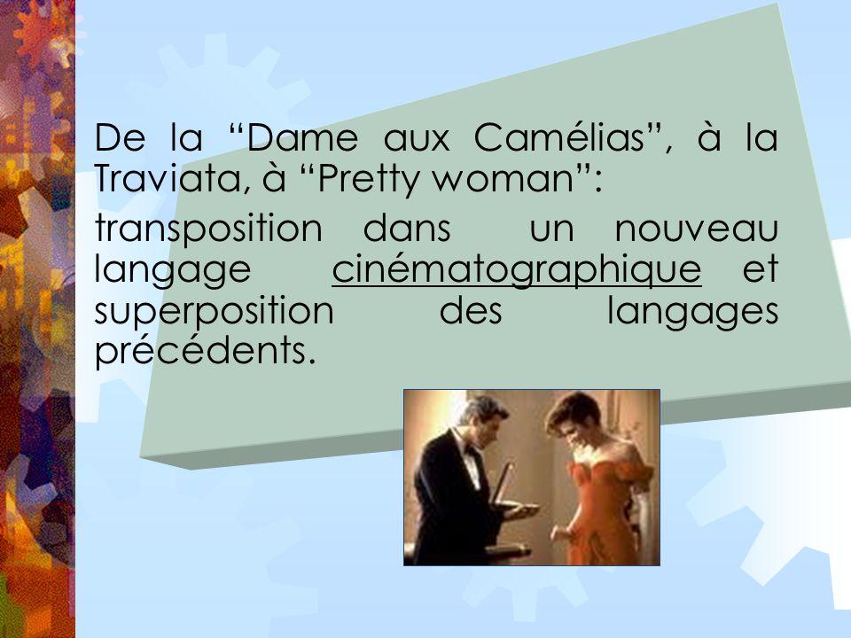 De la Dame aux Camélias, à la Traviata, à Pretty woman: transposition dans un nouveau langage cinématographique et superposition des langages précédents.