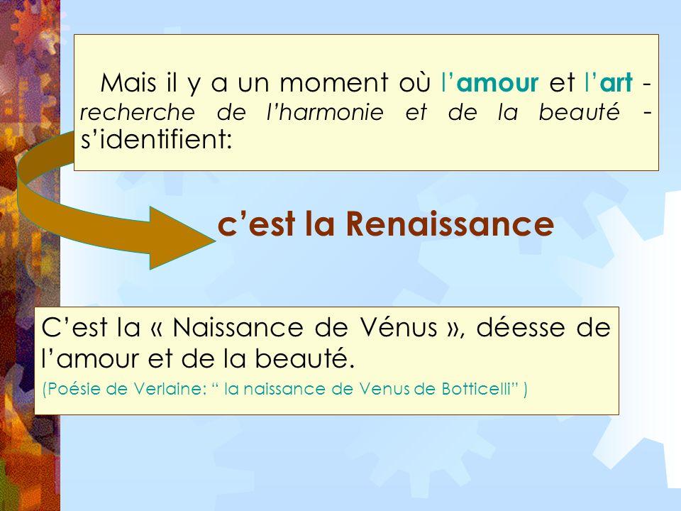 Mais il y a un moment où l amour et l art - recherche de lharmonie et de la beauté - sidentifient: Cest la « Naissance de Vénus », déesse de lamour et de la beauté.