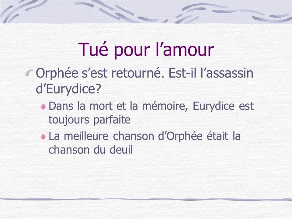 Tué pour lamour Orphée sest retourné. Est-il lassassin dEurydice.