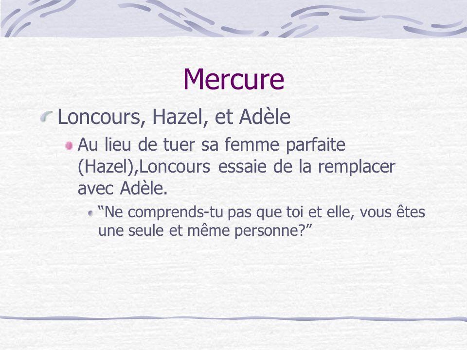 Mercure Loncours, Hazel, et Adèle Au lieu de tuer sa femme parfaite (Hazel),Loncours essaie de la remplacer avec Adèle.
