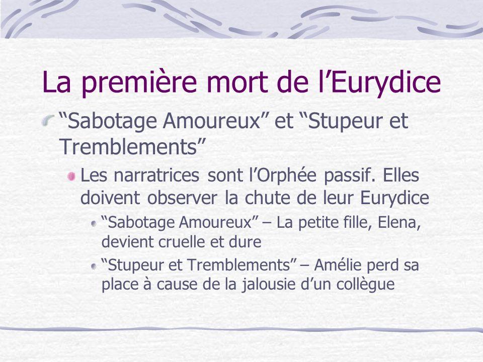 La première mort de lEurydice Sabotage Amoureux et Stupeur et Tremblements Les narratrices sont lOrphée passif.