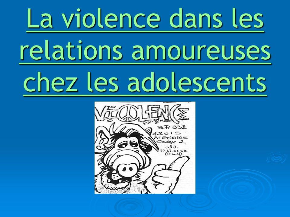 La violence et ses différentes manifestations dans le couple adolescent : Francine Lavoie (spécialiste en recherche de la violence chez les adolescents), définit la violence comme «tout comportement ayant pour effet de nuire au développement de lautre en compromettant son intégrité physique, psychologique ou sexuelle ».