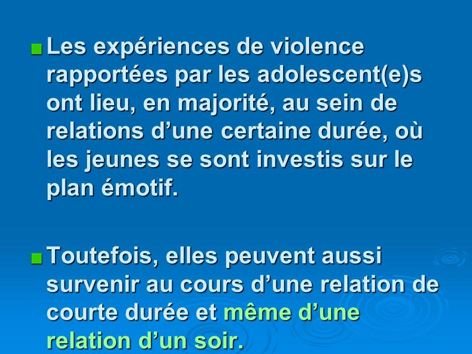 Les expériences de violence rapportées par les adolescent(e)s ont lieu, en majorité, au sein de relations dune certaine durée, où les jeunes se sont investis sur le plan émotif.