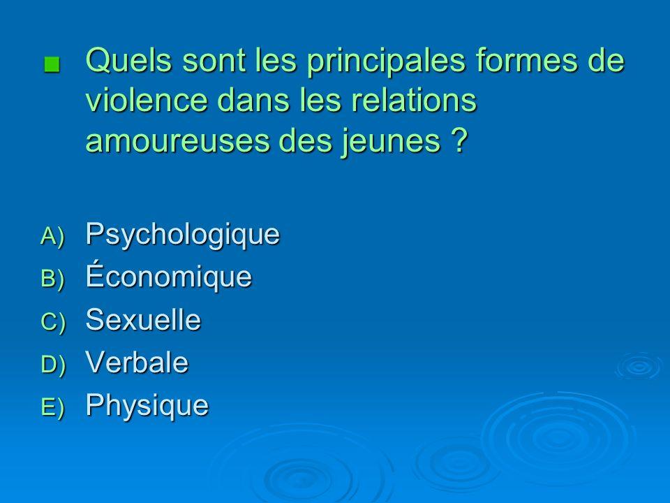 Quels sont les principales formes de violence dans les relations amoureuses des jeunes .